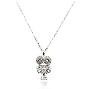 Sterling silver owl crystal necklace